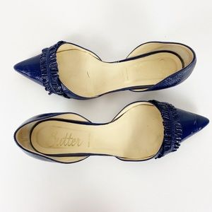 BUTTER Pointed Toe Kitten Heels Blue with Ruffle